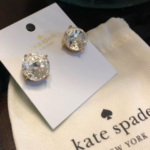 Kate Spade Huge Clear Diamond Cut Gold Earrings